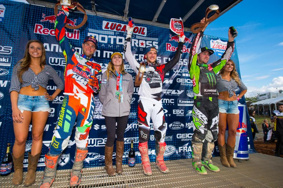 Roczen (center), Dungey (left) and Tomac (right) completed the 450 Class overall podium.Photo: Simon Cudby