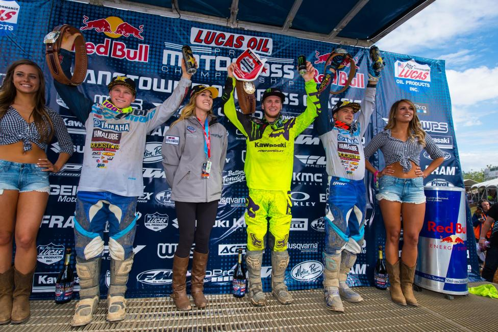 Savatgy (center) was joined by Martin (left) and Webb (right) on the 250 Class podium.Photo: Simon Cudby