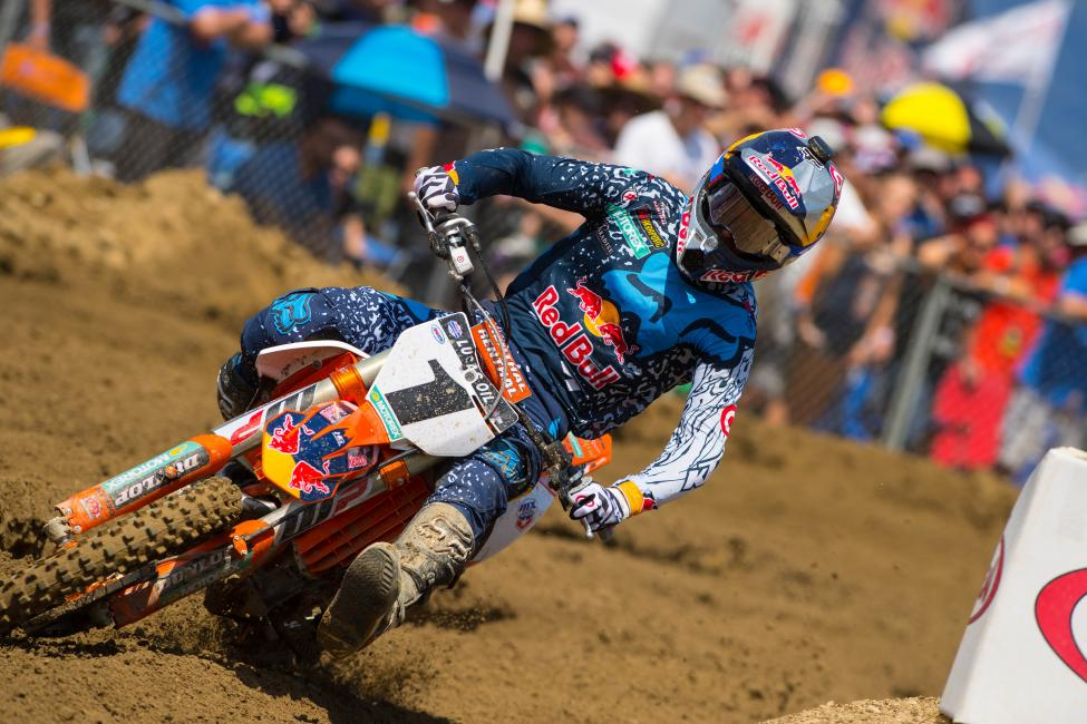 Dungey has his first win of the 2016 season and has closed to within two points of Roczen in the 450 Class standings.Photo: Simon Cudby