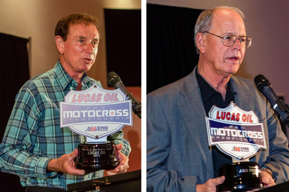 Forrest Lucas (left) and Jim France (right) recognized for their contributions to Lucas Oil Pro Motocross.Photo: Rob Koy