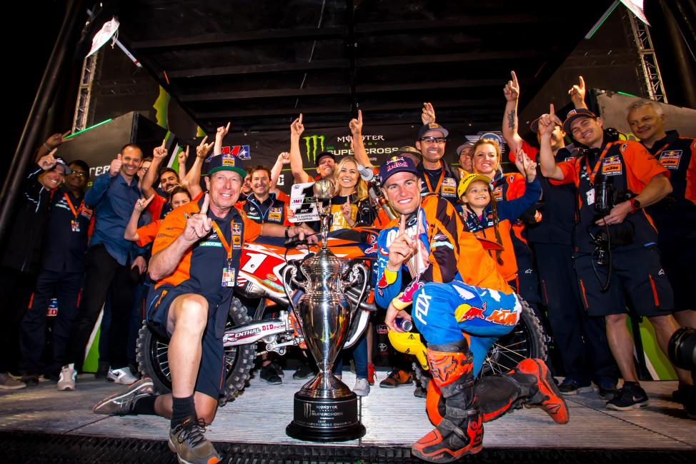 Dungey endured through the toughest challenge of his career to win a fourth supercross title in Las Vegas.Photo Courtesy: Racer X