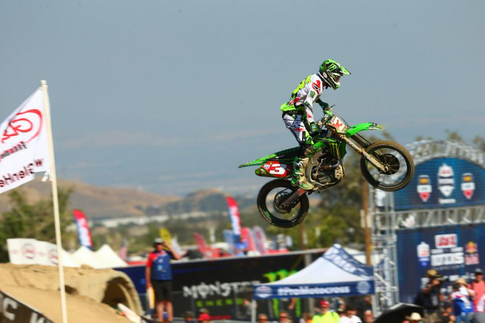 Tomac endured through misfortune to finish ninth overall.Photo: MX Sports Pro Racing / Jeff Kardas