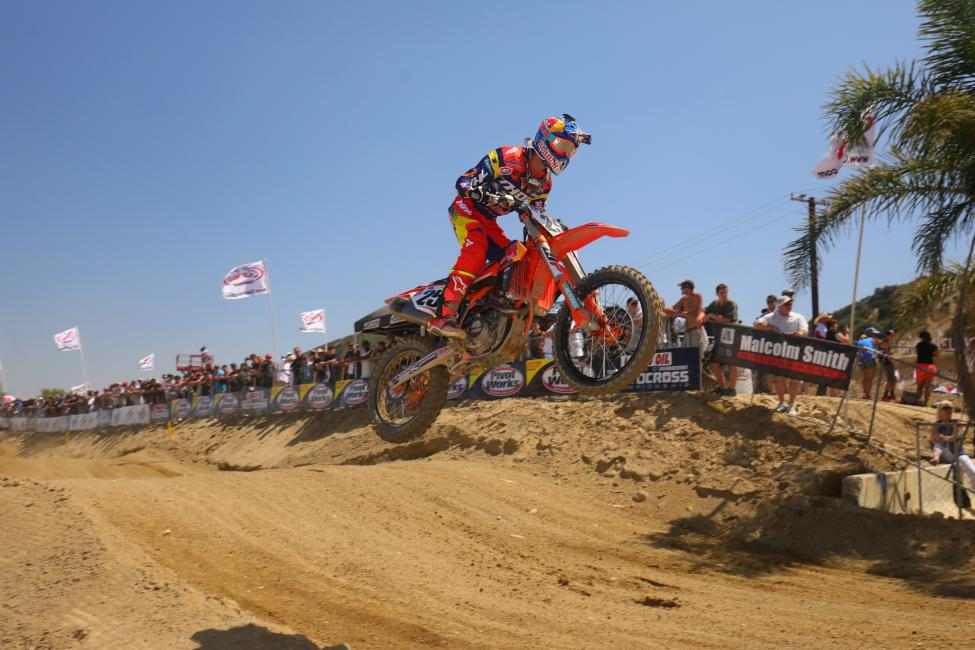 Musquin earned the first moto and overall win of his career at Glen Helen.Photo: MX Sports Pro Racing / Jeff Kardas