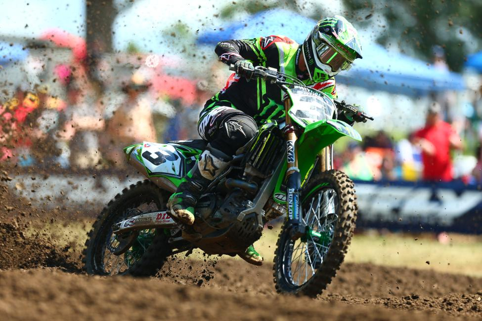 Tomac put his Kawasaki back atop the overall podium for the second time in 2017.Photo: MX Sports Pro Racing / Jeff Kardas
