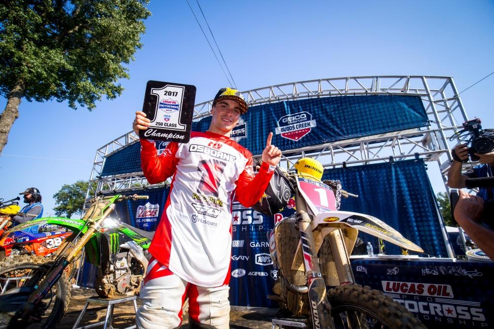 Osborne is the 2017 Lucas Oil Pro Motocross 250 Class Champion, clinching the Gary Jones Cup at Budds Creek.
