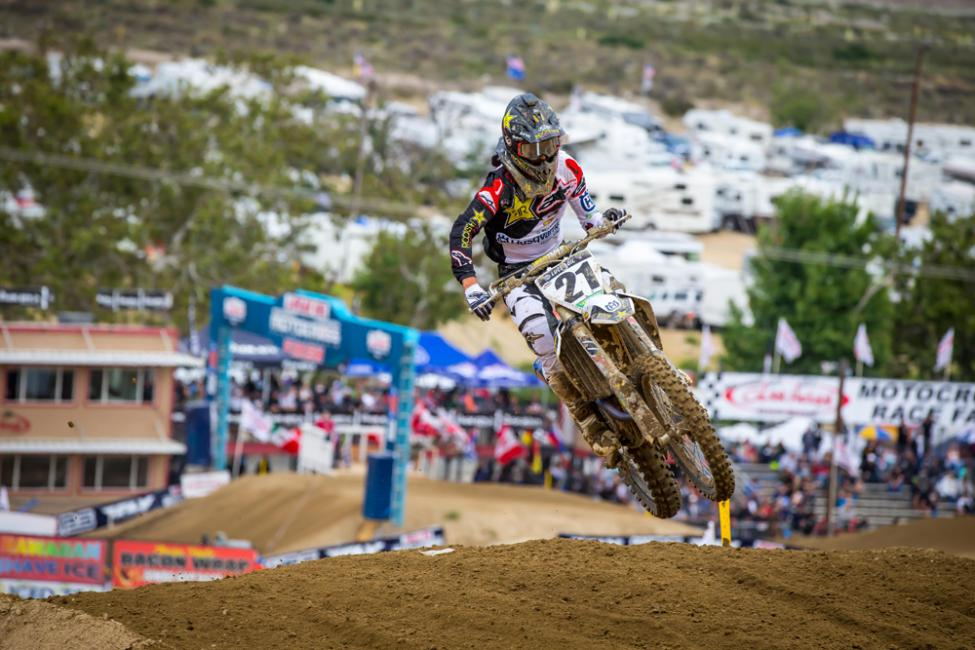 Jason Anderson led most of Moto 2 and earned his first overall podium of the season.