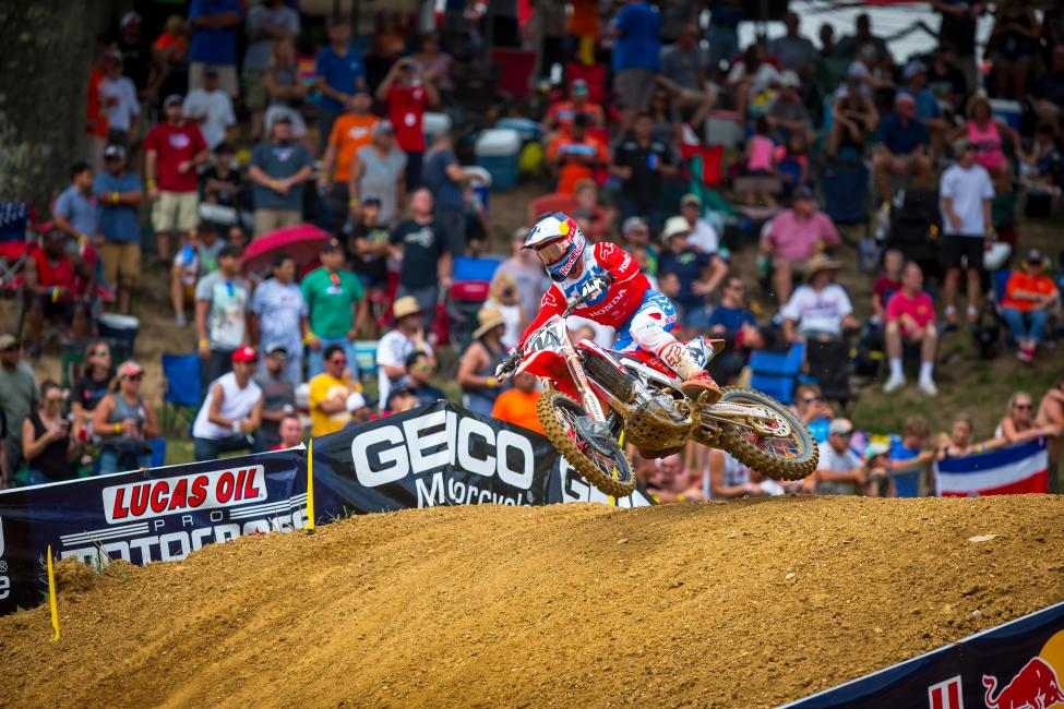 Roczenled laps in both motos and grabbed the first moto victory for second overall (1-3).