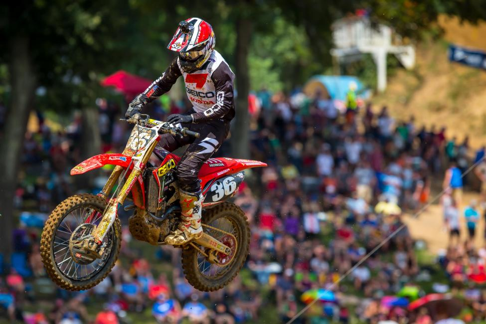 A second moto win helped RJ Hampshire capture his first career victory (2-1).