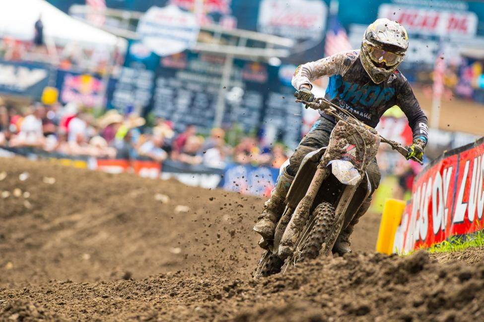 Webb battled tough to take home a hard-earned third-place finish in his final 250 Class race.Photo: Simon Cudby