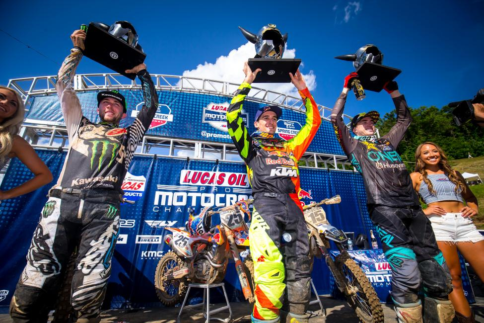 The 450 Class podium: Tomac (left), Musquin (center), and Wilson (right).