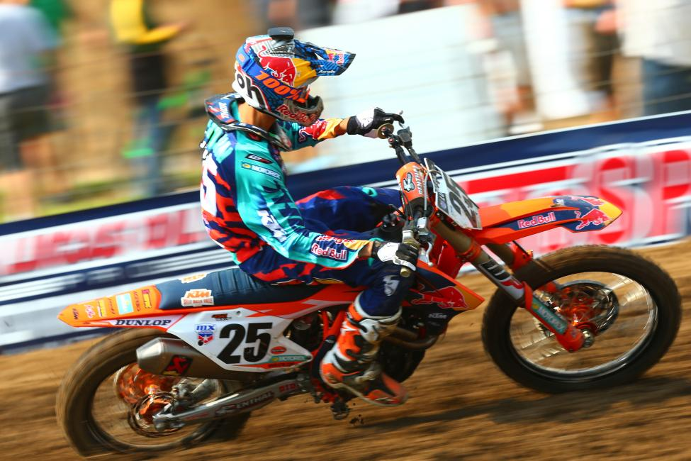 A crash late in Moto 2 forced Musquin to settle for second overall.