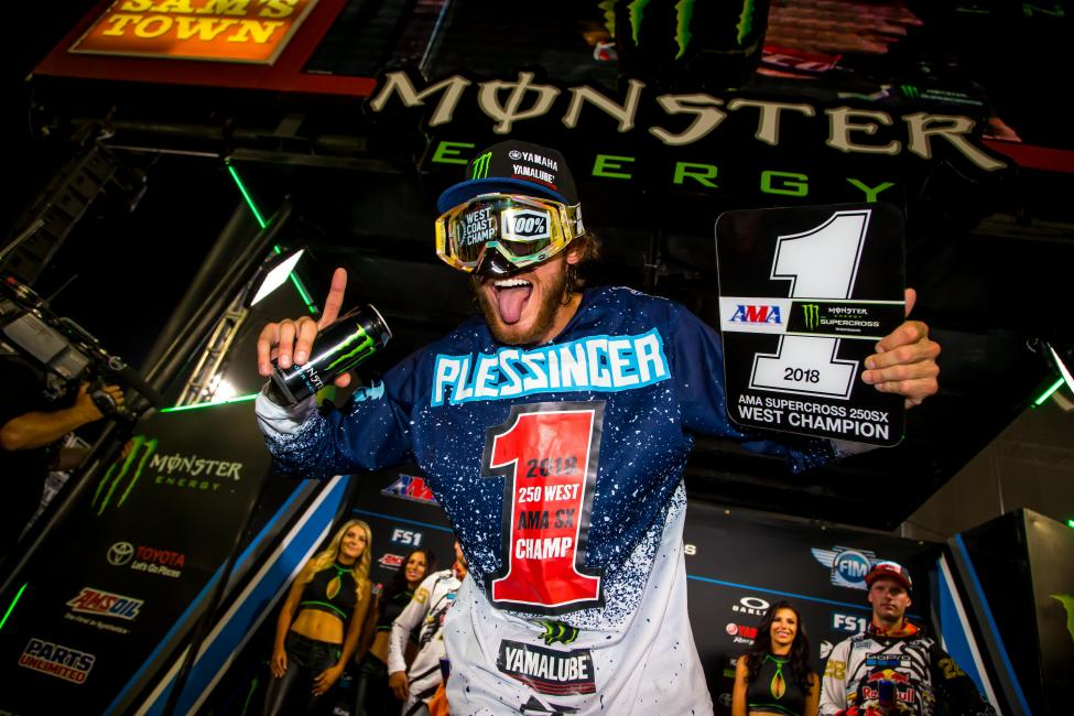 Everyone has had their eye on Aaron Plessinger this season, and on Saturday evening he earned his first AMA Supercross 250SX West Championship.