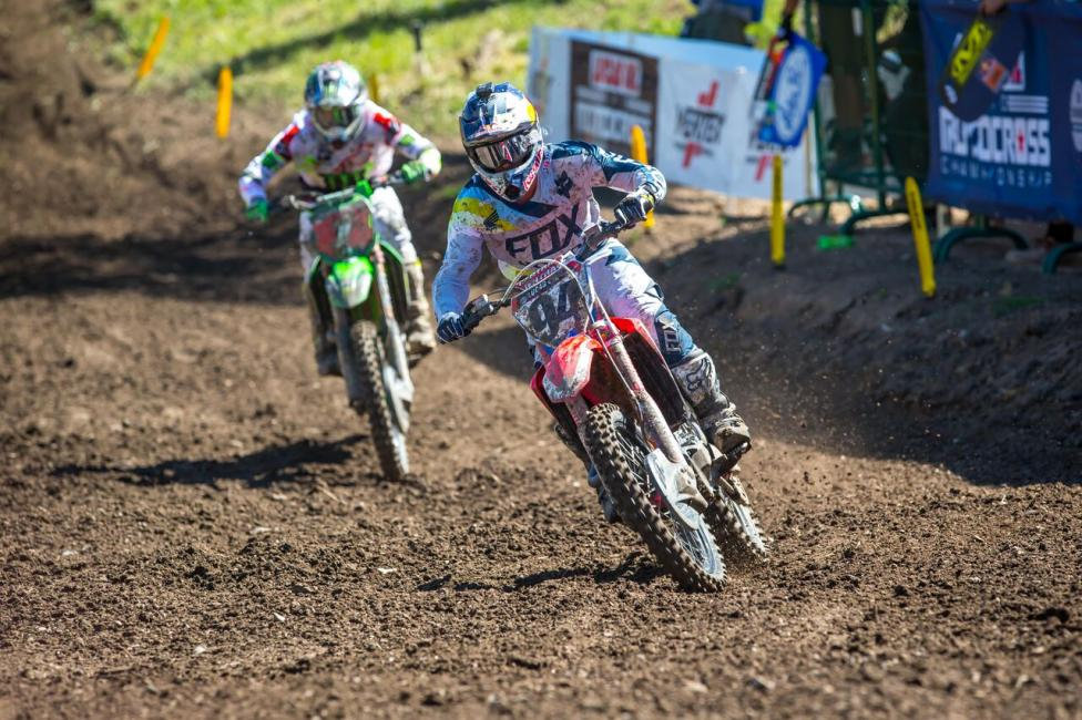 Ken Roczen led Tomac early in both motos en route to second overall (2-2).