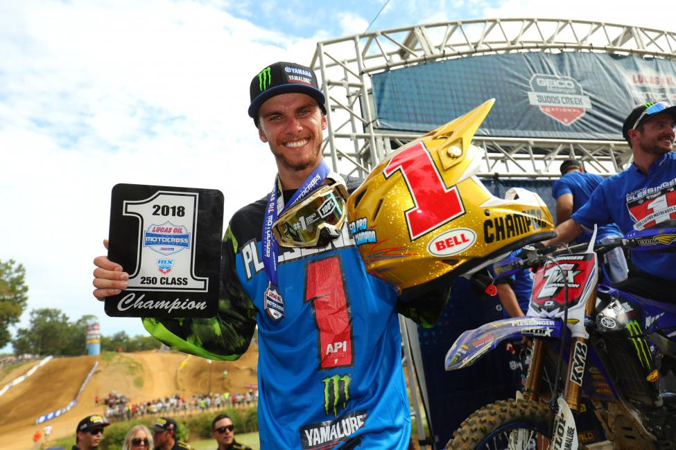 Plessinger is the 2018 Lucas Oil Pro Motocross 250 Class Champion, clinching the Gary Jones Cup at Budds Creek.