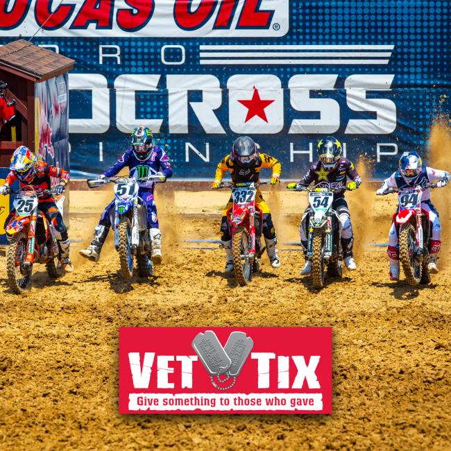 The 2019 Lucas Oil Pro Motocross season will be the eighth year of partnership with Vet Tix inviting active duty military and veterans to the races.