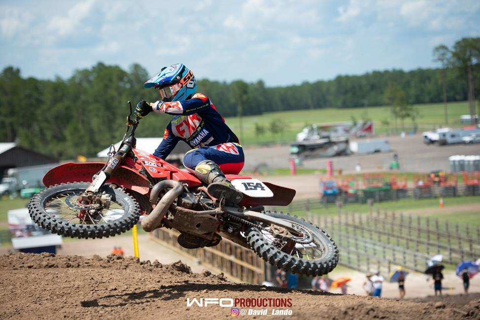 Brandon Scharer styles en route to the win in the 450 A class.