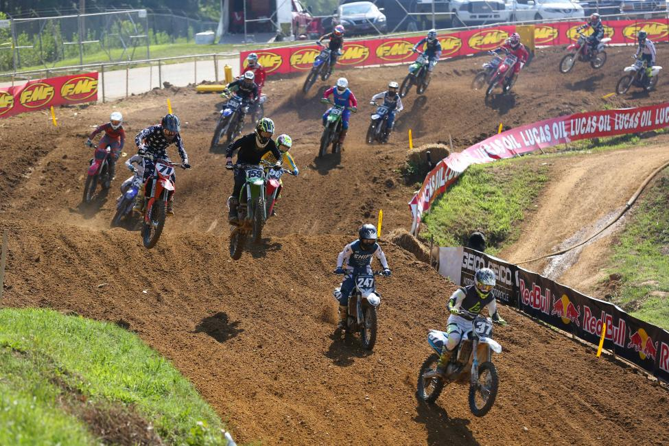 Gabriel Goettler (37) leads Josh Moore (247) and Brenden Bacal (159) after the start of the 250 C race.