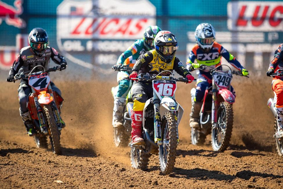 The 2021 Lucas Oil Pro Motocross Championship will see Zach Osborne (16) look to successfully defend his 450 Class title. Photo: Align Media