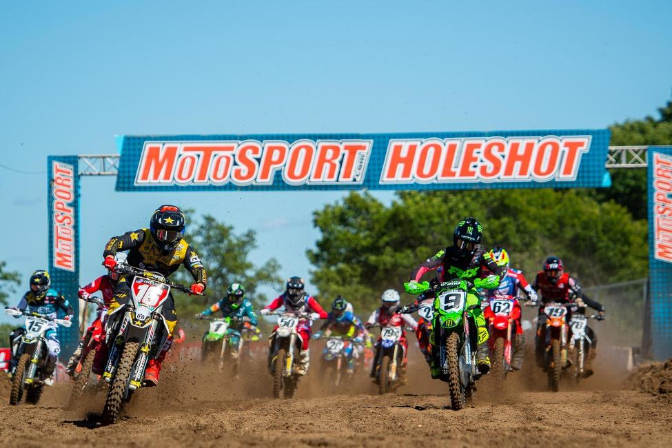 The MotoSport.com Holeshot is arguably the most exciting and important element of any Pro Motocross moto. Photo: Align Media